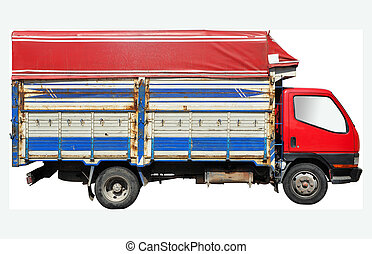 Cargo truck isolated on a white background