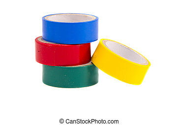 isolated four colorful insulating tapes - isolated on white...