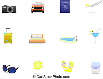Travel icons isolated on white