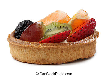 Fruitcake - Close-up image of a tasty fruitcake against a...