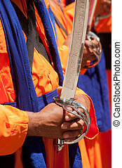 Old Sikh Man with Kirpan sword - Sikh People Baisakhi...