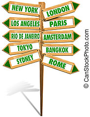 Crossroads Cities - Wooden signs with arrows to show the...
