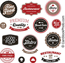 Vintage restaurant labels - Set of vintage retro restaurant...