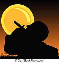 man smoking cigarette and sun illustration
