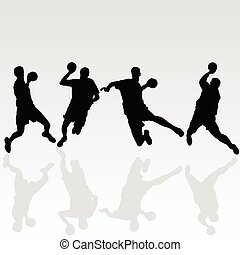 handball black player illustration on white background