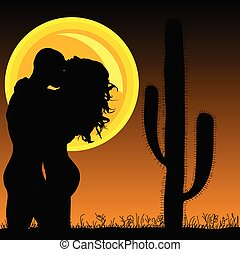 couple in love with cactus and sun illustration
