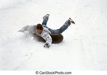 race in winter - young people have fun in the winter