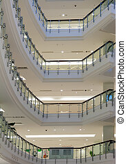 multi-storey shop interior with balcony