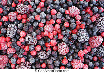 Close up of frozen mixed fruit - berries - red currant,...