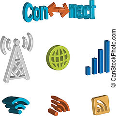 3-D Connectivity icons - A set of icons symbolising signal...