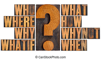 questions in letterpress wood type - brainstorming or...