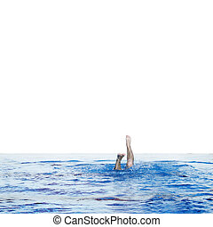 plunge - man swims in swimming pool