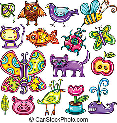 Flora and fauna theme. Cartoon vector set of colorful icons...