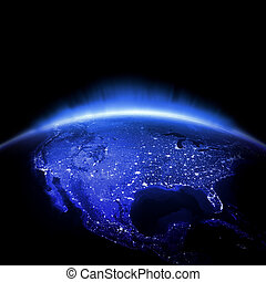 USA city lights - USA Earth lights 3d render, maps courtesy...