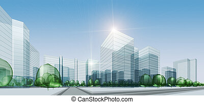 Abstract city. 3d render background