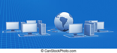 Digital network. Cyberspace 3d render