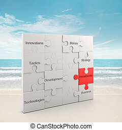 Investments puzzle concept. 3d and photo montage