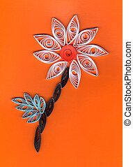 Flower applique with quilling. Stripe paper swirl