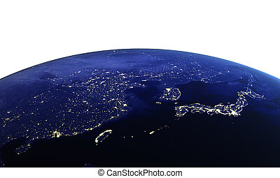 China and Japan on white. Maps from NASA imagery