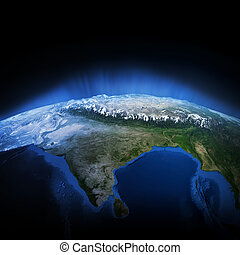 Himalayas mountains Earth lights 3d render, maps courtesy of...