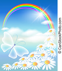 Rainbow in the sky - Rainbow, flowers and butterfly in the...