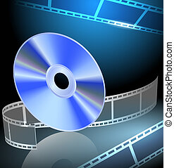 DVD and filmstrip on the luminous background