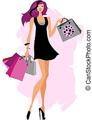 Woman shopping bags - Woman with shopping bags. Vector...