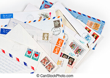 A pile with old envelopes and letters - A pile of old...