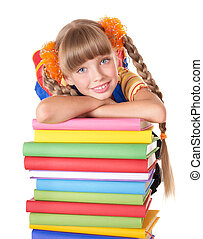 Schoolgirl with backpack holding pile of books. Isolated.