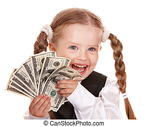 Happy child with money dollar - Happy little girl with money...