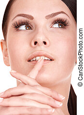 Beautiful girl with long thicken eyelash. Isolated.