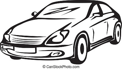 contour of the automobile - Black-and-white contour image of...