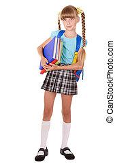 colegiala, mochila, tenencia, Libros