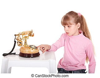 Girl with gold retro telephone Isolated