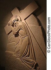 Christ bearing the cross. Sculture of Saint Joseph's Oratory...
