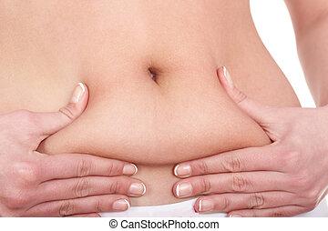 grasa, hembra, cuerpo, parte