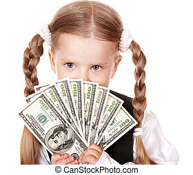 Sad child with money dollar. Isolated.