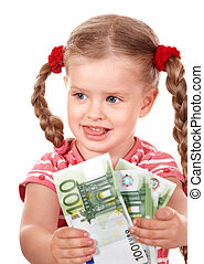 Happy child with money euro. Isolated.