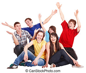 Group of happy young people with hand up. Isolated.