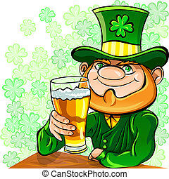Vector St Patricks Day leprechaun drinks beer - Vector St...
