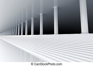 white marble stair and row of columns vanishing in the distance