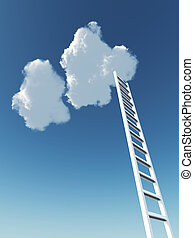 white stair rising to the cloud on a background blue sky