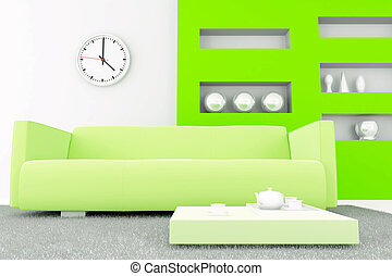 interior in green tones with a sofa and table with tea set