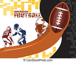 American football poster background with players silhouette,...
