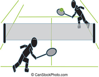 Stick Figures Playing Tennis - simple drawing of stick...