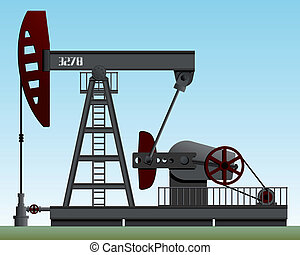 Oil pump - Pump rocking. Crude oil production. Vector...