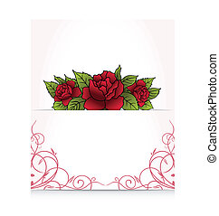 romantic letter with bouquet roses