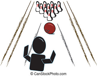 Stick Person with Bowling Ball/ Pin - simple drawing of a...