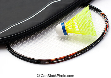 Badminton racket and shuttlecock on white background