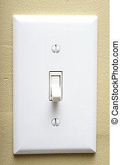 Light Switch - A closeup shot of a modern light switch on an...